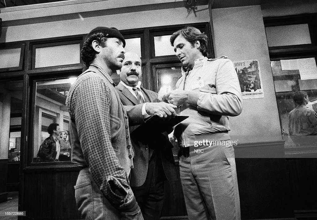 BLUES 'Spotlight on Rico' Episode 320 Pictured Bruce Weitz as Det Mick Belker Rene Enriquez as Lt Ray Calletano Kiel Martin as Det Johnny 'JD' LaRue