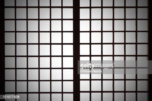 Spotlight on Shoji (Japanese paper screen partition) background