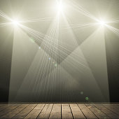 ilustration of concert spot lighting over dark background and wood floor