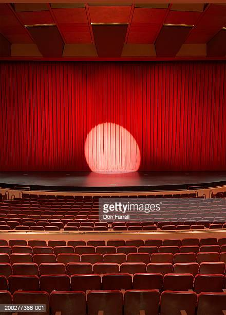 Spotlight shining on stage in empty theater