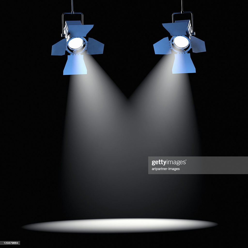 2 Spotlights on a Black Ceiling