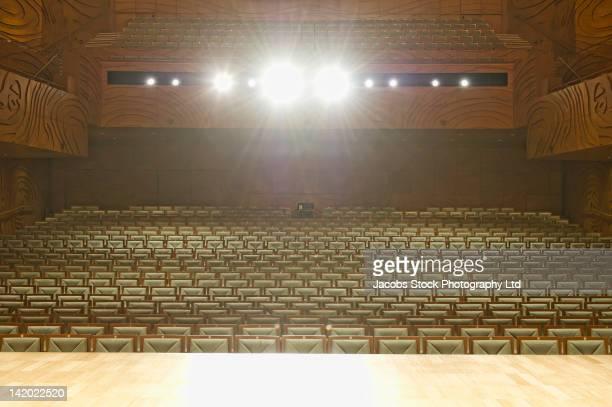 Spotlights on stage in empty auditorium