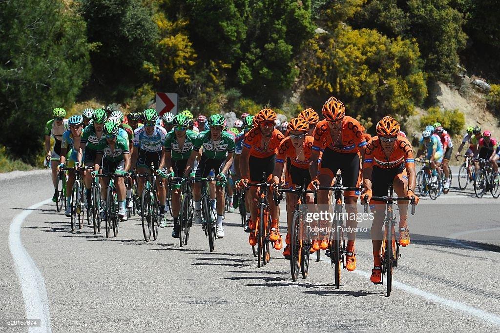 Sprandi Polkowice cyclists lead the peloton during Stage 6 of the 2016 Tour of Turkey, Kumluca to Elmali (117 km) on April 24, 2016 in Kumluca, Turkey.