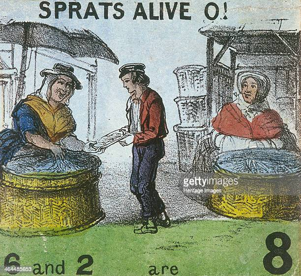 'Sprats Alive O' A boy buys from two sprat sellers who display their produce in two large baskets placed on the floor From Cries of London c1840
