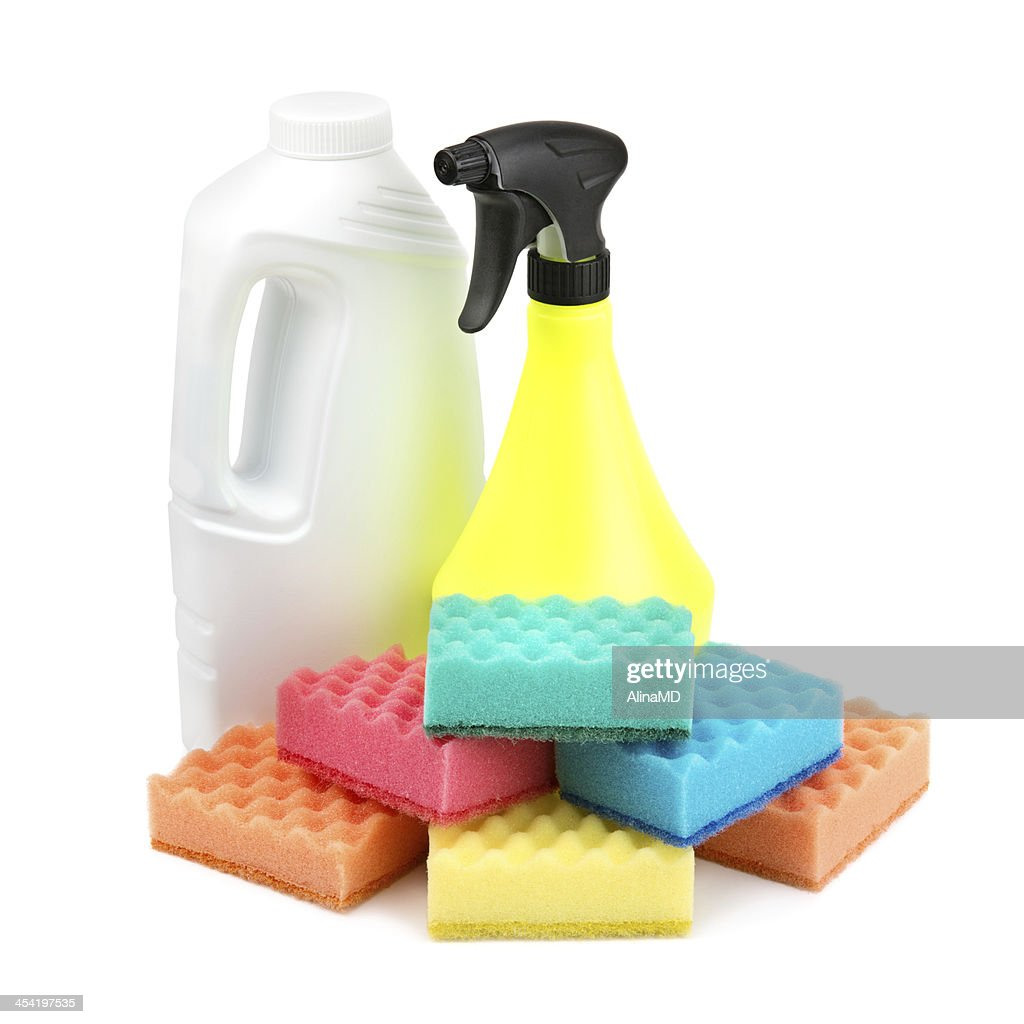 spray bottle  and a set of sponges : Stock Photo