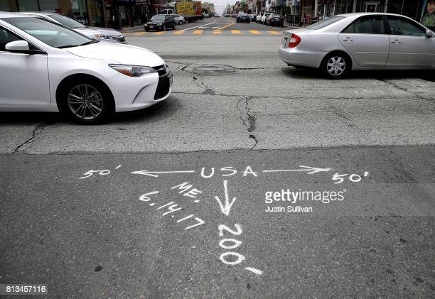 Spray paint marks a section of raod to be repaired on July 12 2017 in San Francisco California According to a report by WalletHub roads in San...