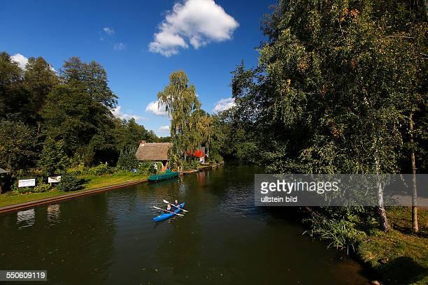 Spreewald Biosphere Reserve Luebbenau Brandenburg Germany October 19 River Spree in autum near Luebbenau