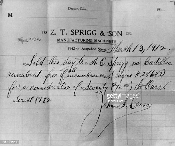 S 1912 PURCHASE OF A CADILLAC''FOR7 $70 Sprigg figures he is probably one of the last surviving original auto mechanics Credit Denver Post