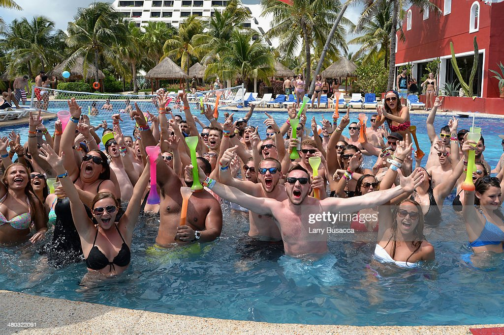 "Spring breakers attend mtvU Spring Break 2014 at the Grand Oasis Hotel on March 19 2014 in Cancun Mexico ""mtvU Spring Break' starts airing March 31st..."