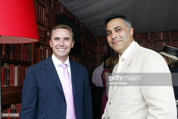 Spring Carnival 2005 'Crazy' John Ilhan left and Ahmed Fahour inside the NAB marquee at 2005 Melbourne Cup 1 November 2005 AFR Picture by JESSICA...