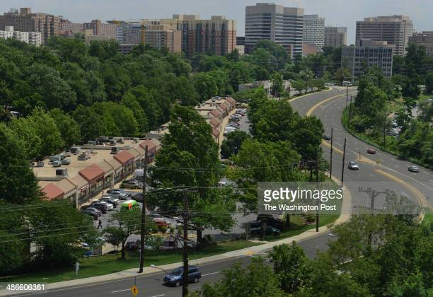 Spring Center strip mall sits on 16th Street just north of EastWest Highway near downtown Silver Spring background and the Silver Spring Metro on...
