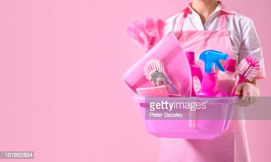 Spring cleaner with pink cleaning equipment : Stock Photo
