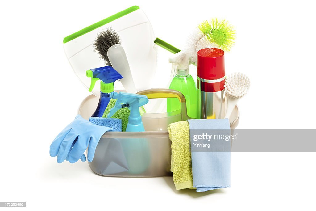 Spring Cleaning Equipment and Cleanser in Caddy on White Background : Stock Photo