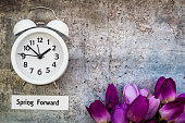 Spring Daylight Saving Time concept with with clock and flowers, flat lay