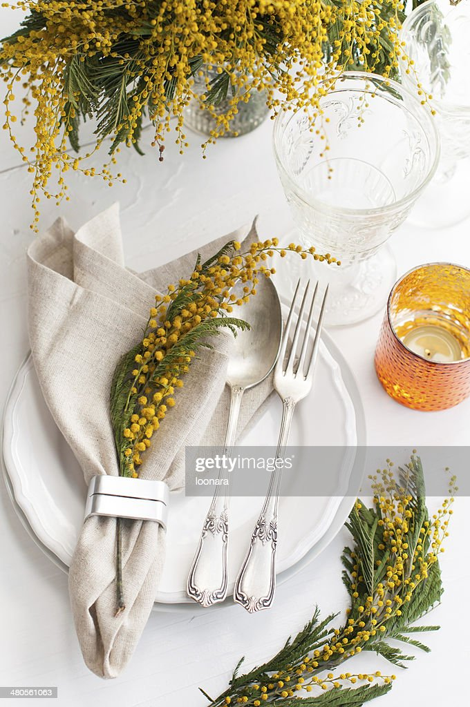 Spring festive dining table setting : Stock Photo