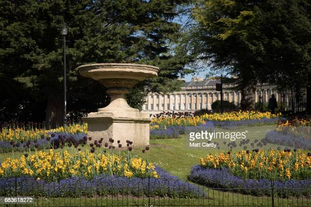 Spring flowers bloom in front of the Royal Crescent on April 19 2017 in Bath England Designed by the architect John Wood the Younger and built...