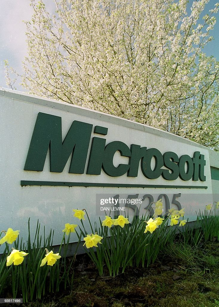 Spring flowers grow at the entrance to one of the building on the Microsoft campus in Redmond Washington prior to the Justice Department's...