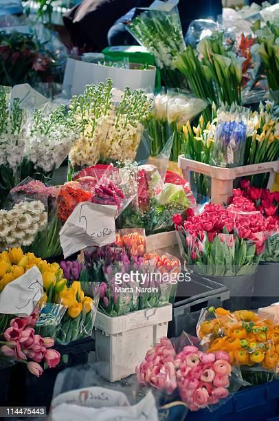 Spring flowers in an Italian market