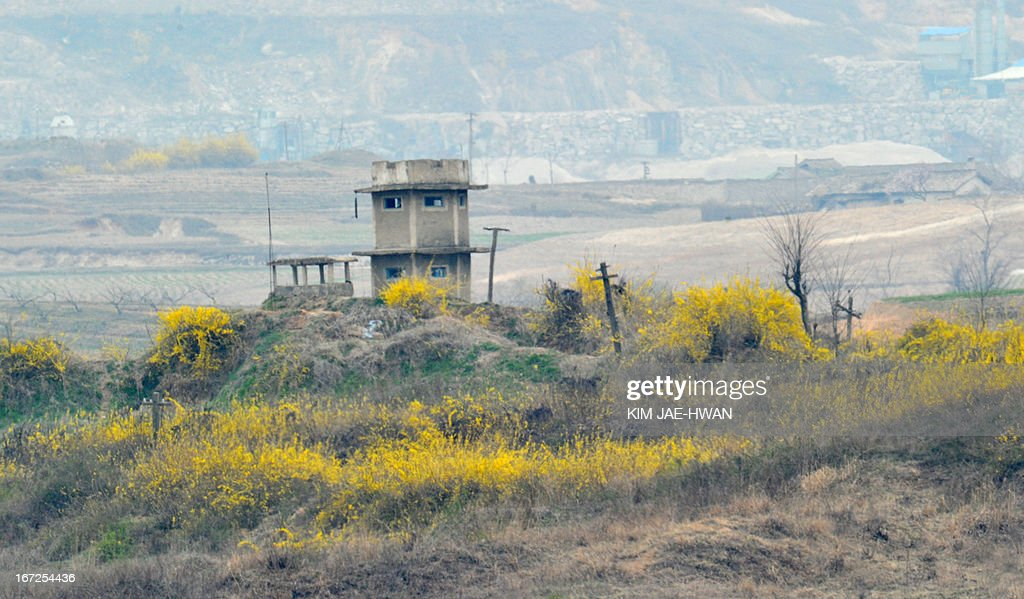 Spring flowers sprout in the bush field around a North Korean guard post in the demilitarised zone on April 23, 2013. Tensions simmer along the world's last Cold War frontier after weeks of hostile threats from North Korea and its preparations for potential missile launches.