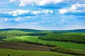 Beautiful landscape in Moldova. Spring nature. Blue sky, green fields and forest.