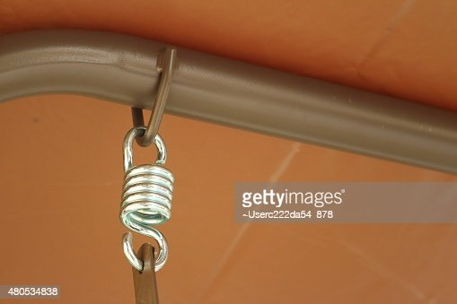 Spring hanger with a rope at the park : Stock Photo