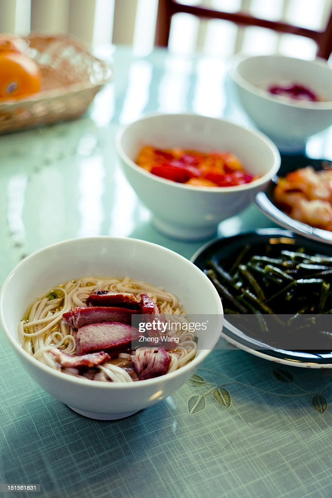 Spring onion soup noodle : Stock Photo