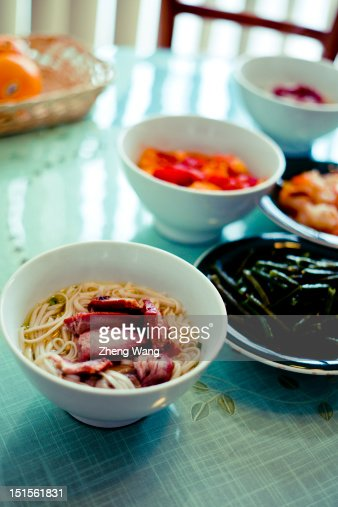 Spring onion soup noodle : Stock Photo