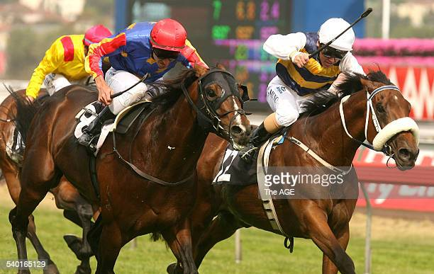 Spring Racing Carnival 2006 Jockey Steven Arnold rides Gallant Guru left to victory over Chris Munce on Magic Instinct in the The Queen Elizabeth...