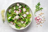 Healthy salad with radish, lettuce, arugula and pine nuts on white background. Spring cherry flowers decoration.