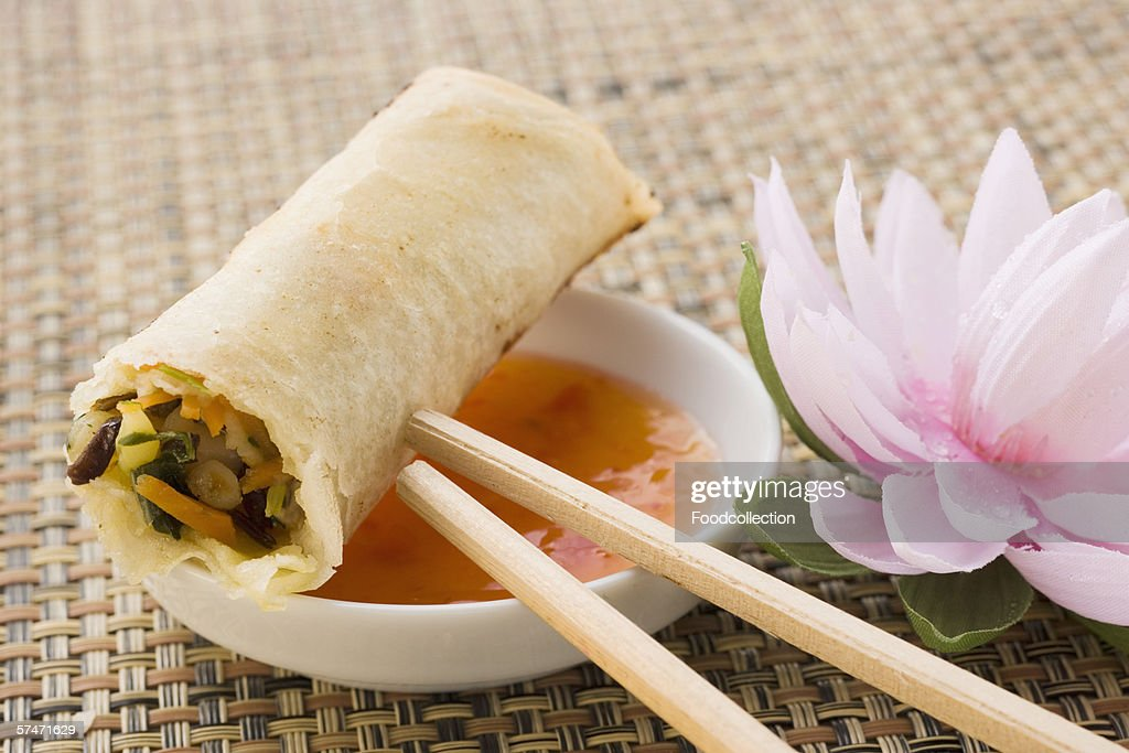 Spring roll on chili dip