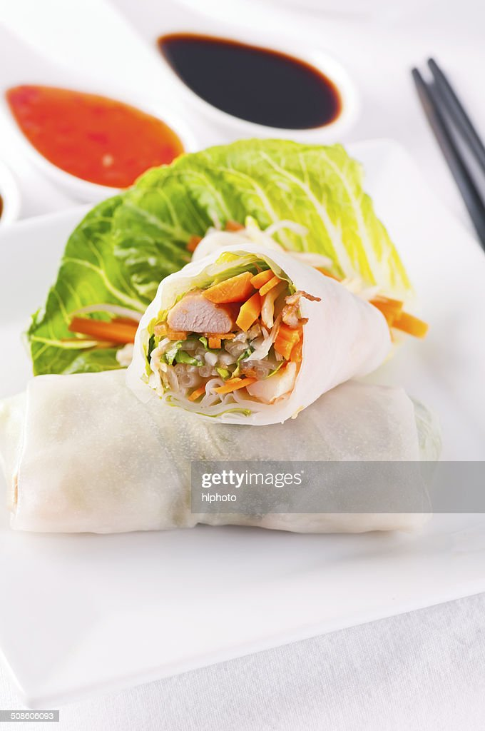 Spring Rolls with Sweet Sour Souce : Stock Photo