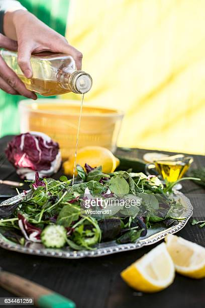 Spring salad of baby spinach, herbs, arugula and lettuce, tampering with vinegar
