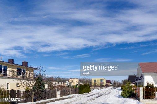 spring  sky over village : Stock Photo