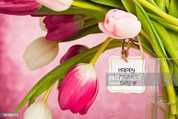 Tulipanes de primavera en el día de la madre