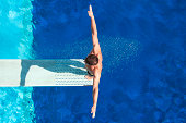 """""""Springboard diving competitor concentrating before the dive. Shot from above, polarizing filter"""""""