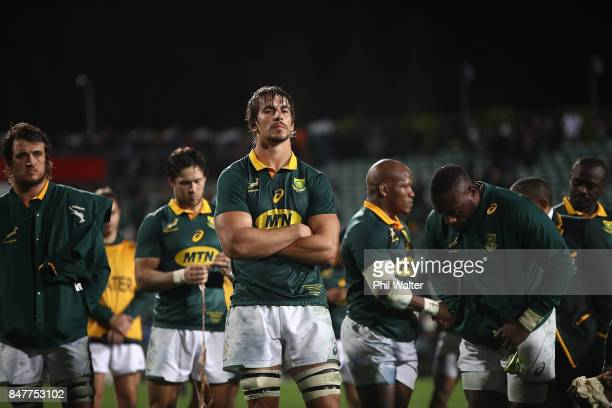 Springbok captain Eben Etzebeth is dejected following the Rugby Championship match between the New Zealand All Blacks and the South African...