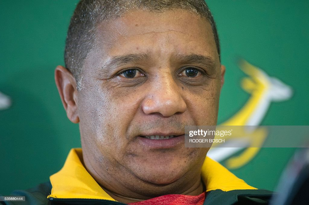 Springbok coach, Alister Coetzee gives a press conference after a training session in Stellenbosch, on 30 May, 2016. Coetzee announces on May 30 that the South African lock Adriaan Strauss will be the Springbok's 57th captain. / AFP / RODGER