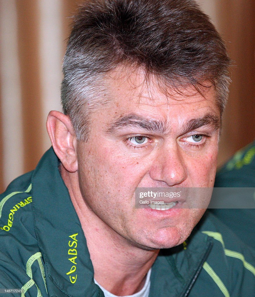 Springbok coach Heyneke Meyer during the South African national rugby team press conference at Kashmir Restaurant on June 04, 2012 in Durban, South Africa.