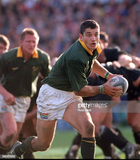 Springbok halfback Joost Van Der Westhuizen makes a break during the TriNations clash between NZ and South Africa Athletic Park Wellington