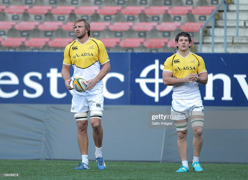 Springbok lock Andries Bekker and Springbok flankforward Marcell Coetzee during the Springboks captains run at DHL Newlands on August 17 2012 in Cape...