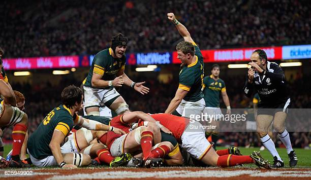 Springboks celebrate their first try scored by Uzair Cassiem during the International match between Wales and South Africa at Principality Stadium on...