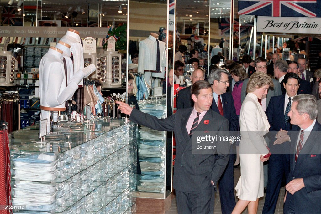 Springfield VA Prince Charles and Princess Diana view a display of British fashions at the JC Penney store in suburban Washington DC