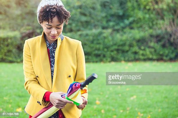 Springtime - autumn fashion portrait in a park (London, UK)