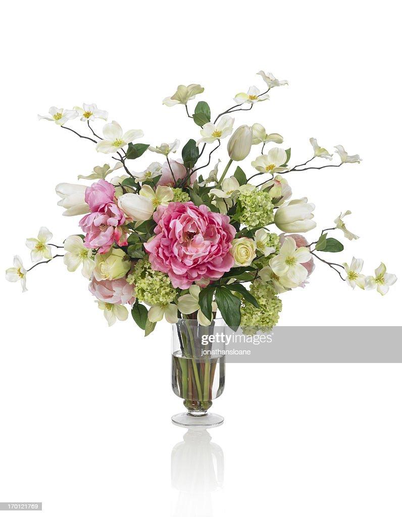 Springtime Dogwood and Peony bouquet on white background