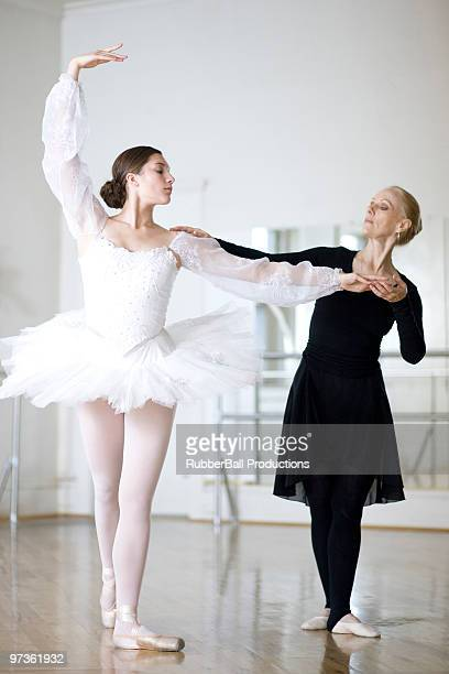 Springville, Utah, USA, Ballet teacher and young ballet dancer (16-17)