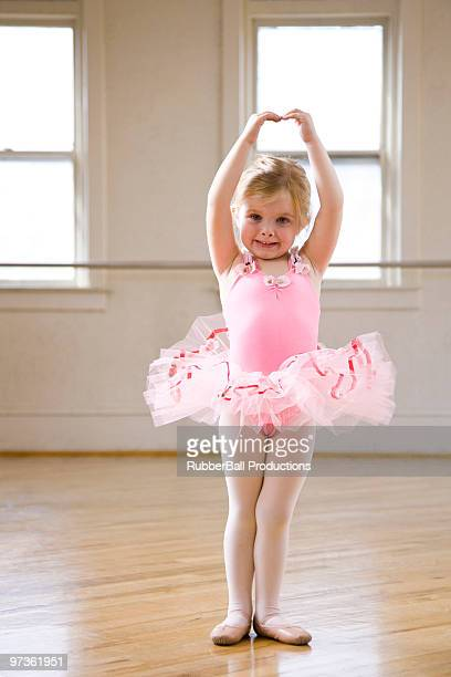 Springville, Utah, USA, Little ballet dancer (2-3) exercising, portrait