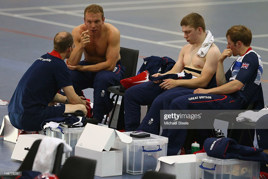 Sprint coach Iain Dyer (L) talks to Sir <a gi-track='captionPersonalityLinkClicked' href=/galleries/search?phrase=Chris+Hoy&family=editorial&specificpeople=171259 ng-click='$event.stopPropagation()'>Chris Hoy</a> (2L),Philip Hindes (2R) and <a gi-track='captionPersonalityLinkClicked' href=/galleries/search?phrase=Jason+Kenny&family=editorial&specificpeople=4167086 ng-click='$event.stopPropagation()'>Jason Kenny</a> (R) during the Team GB Track Cycling Training Session at Newport Velodrome on July 19, 2012 in Newport, Wales.