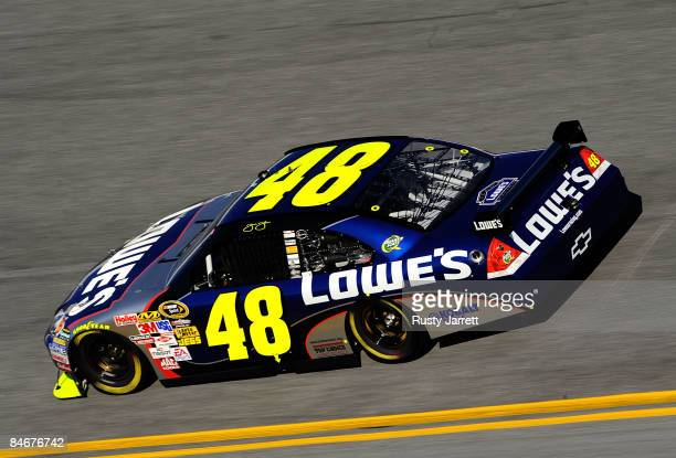 Sprint Cup Champion Jimmie Johnson driver of the Lowe's Chevrolet drives during practice for the Budweiser Shootout at Daytona International Speedway...