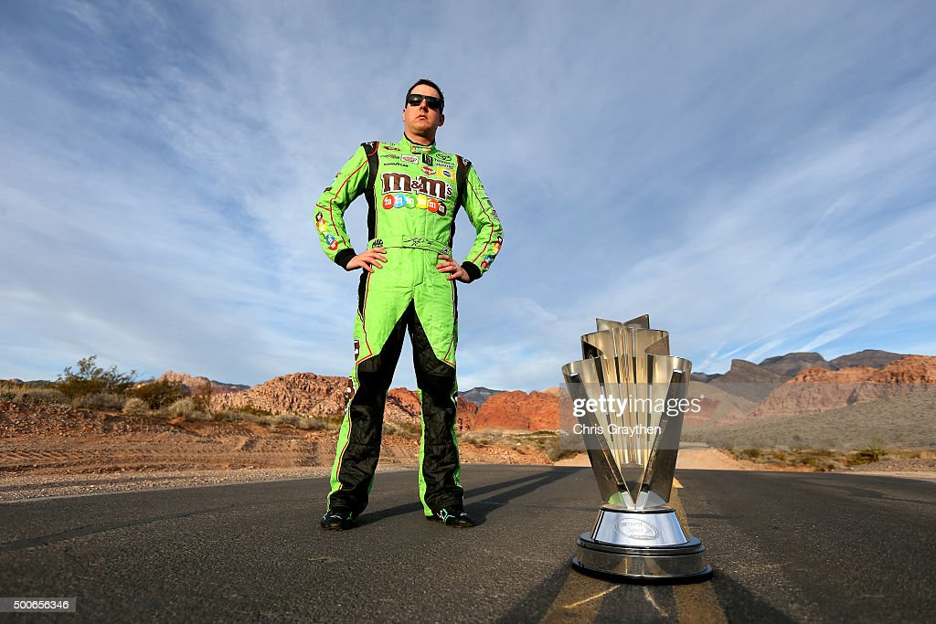 Sprint Cup Champion <a gi-track='captionPersonalityLinkClicked' href=/galleries/search?phrase=Kyle+Busch&family=editorial&specificpeople=211123 ng-click='$event.stopPropagation()'>Kyle Busch</a> poses at Red Rock Canyon National Conservation Area on December 3, 2015 in Las Vegas, Nevada.