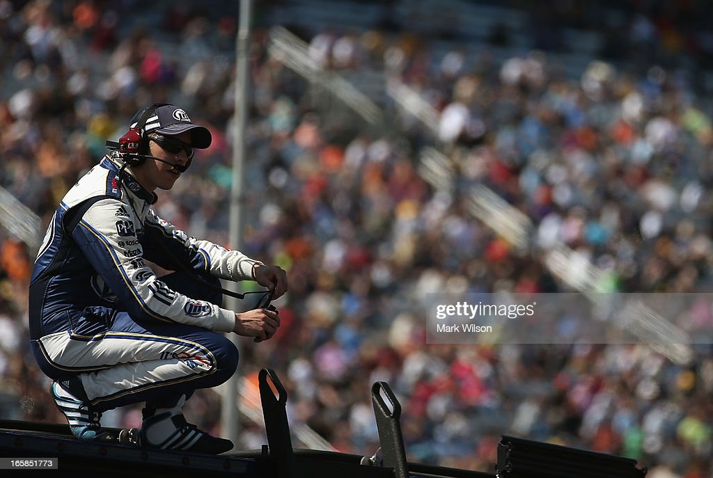Sprint Cup driver <a gi-track='captionPersonalityLinkClicked' href=/galleries/search?phrase=Brad+Keselowski&family=editorial&specificpeople=890258 ng-click='$event.stopPropagation()'>Brad Keselowski</a> watches the NASCAR Camping World Truck Series Kroger 250 on April 6, 2013 at Martinsville Speedway in Ridgeway, Virginia.